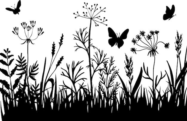 Silhuetas negras de grama, flores e ervas. isolado, desenho desenhado à mão, flores e insetos