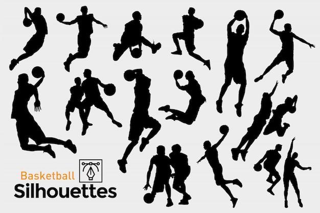Silhuetas negras de jogadores de basquete.