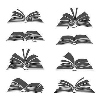 Silhuetas negras de livros