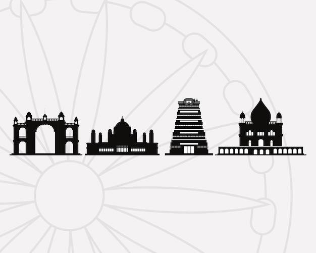 Silhuetas negras de marcos da índia
