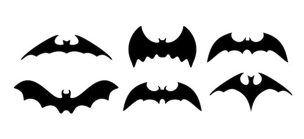 Silhuetas negras de morcegos.