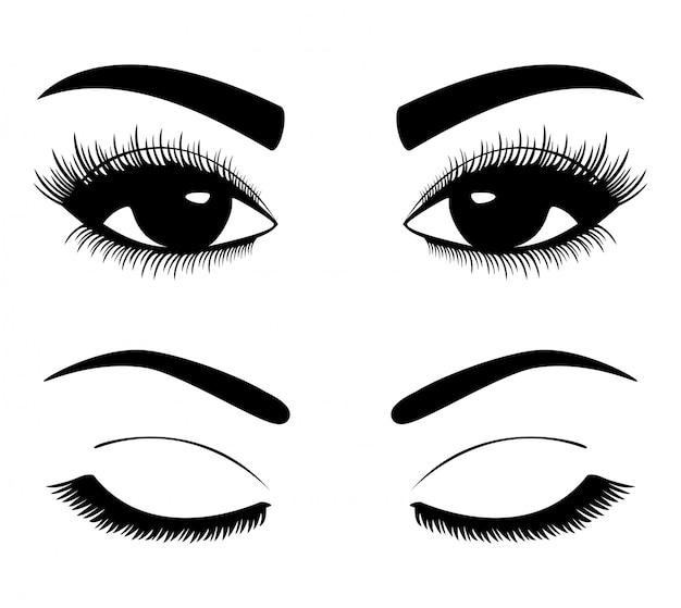 Silhuetas negras de sobrancelhas e olhos isolados no branco