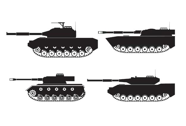 Silhuetas negras de veículos de combate de tanques com torres e armas