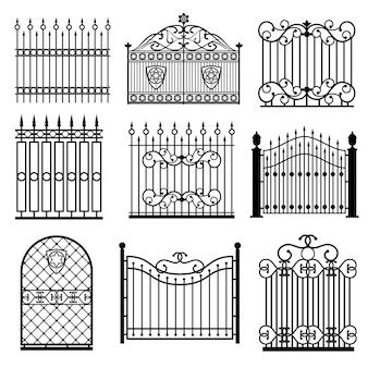 Silhuetas negras decorativas de cercas com conjunto de vetores de portões