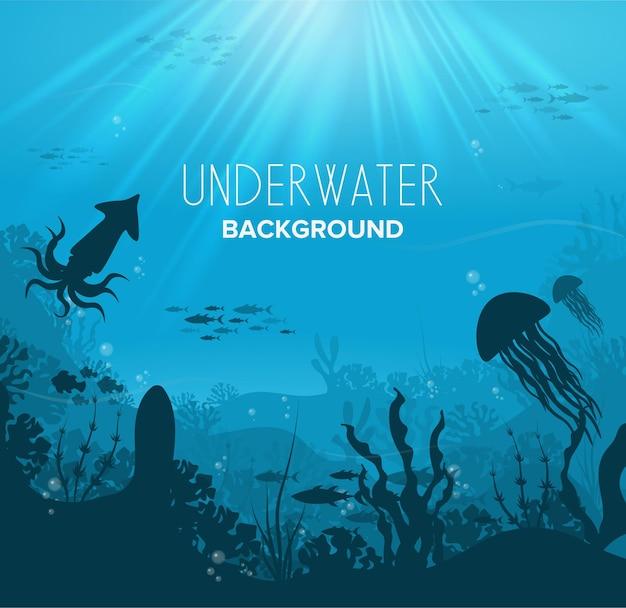 Silhuetas negras nadando em peixes marinhos com contornos azuis, corais e plantas vetoriais