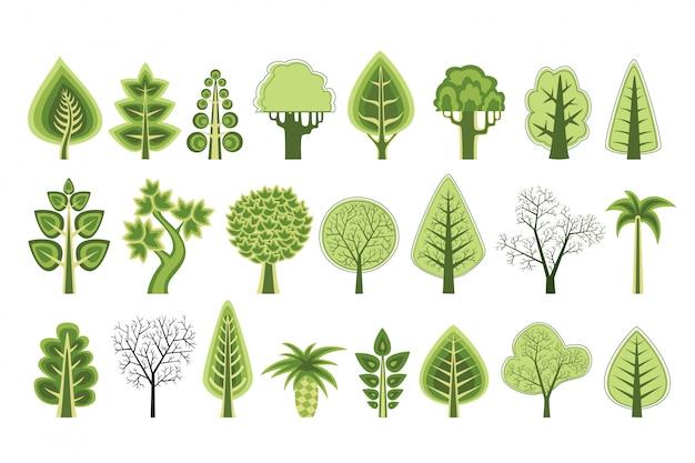 Silhuetas planas de árvores