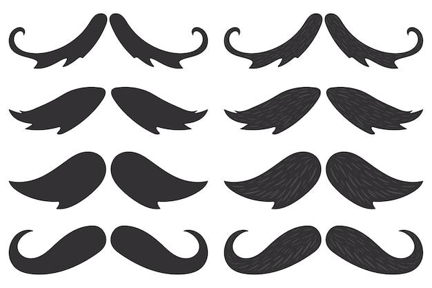 Silhuetas pretas de bigodes definidas isoladas em um fundo branco.