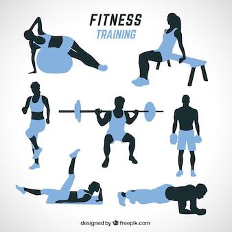 Silhuetas pretas e azuis fazendo exercícios diferentes