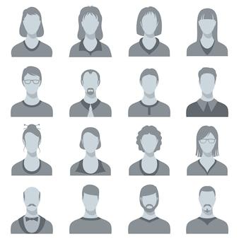 Silhuetas principais fêmeas e masculinas do vetor. avatares de perfil de usuário