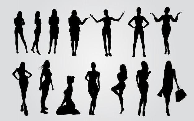 Silhuetas vetor de ladys. silhuetas de mulheres sexy