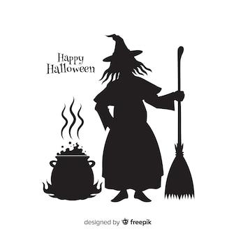 Silhuette de bruxa de halloween