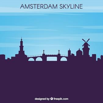 Silueta, amsterdão, skyline, fundo