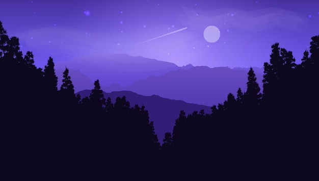 Silueta, de, árvore pinho, paisagem, contra, um, moonlit, céu