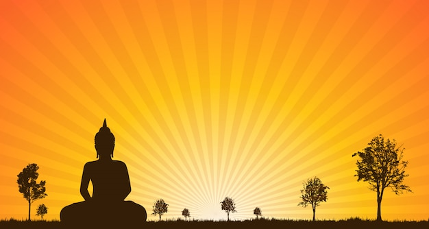 Silueta, de, buddha, estátua
