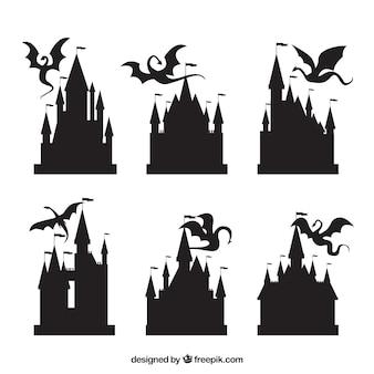 Silueta, de, castelo, e, voando, dragão, cobrança