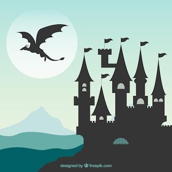 Silueta, de, castelo, e, voando, dragão
