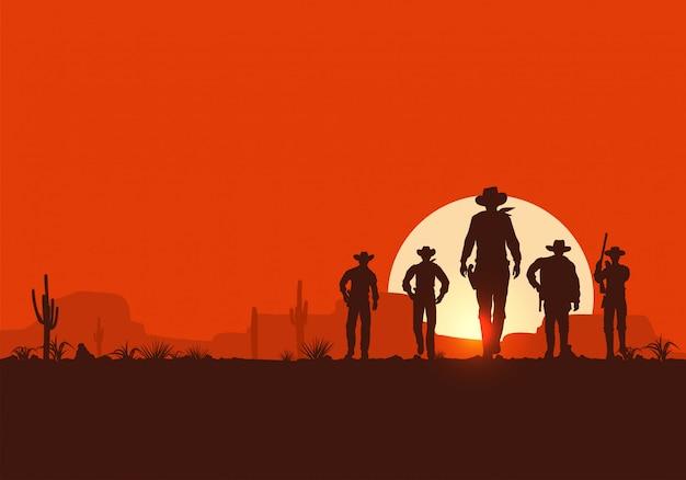 Silueta, de, cinco, vaqueiros, andar, frente, bandeira