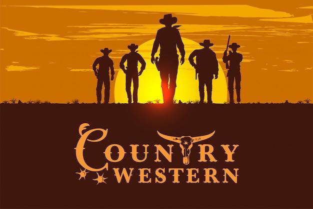 Silueta, de, cinco, vaqueiros, andar, frente, sinal vintage