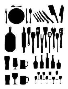 Silueta, de, cozinha, ferramentas