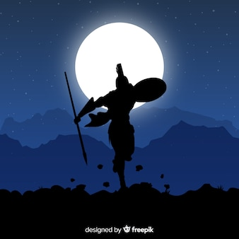 Silueta, de, espartano, guerreiro, com, dardo