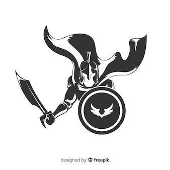 Silueta, de, espartano, guerreiro, com, espada