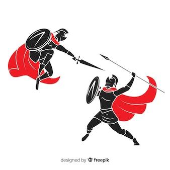 Silueta, de, espartanos, guerreiros, luta