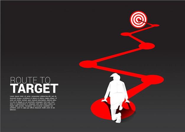 Silueta, de, executiva, pronto, executar, rota, para, dartboard