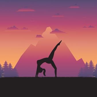 Silueta, de, ioga, mulher, ligado, natureza