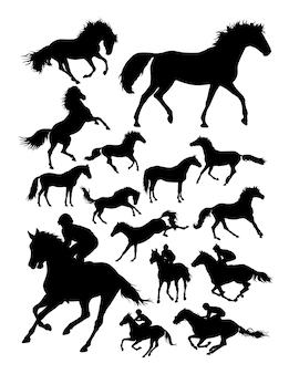 Silueta, de, jóquei, e, cavalo