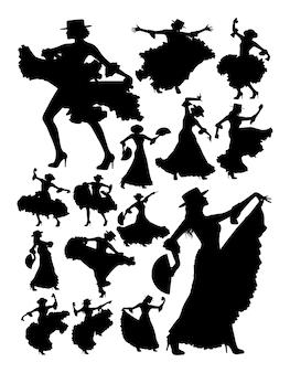 Silueta, de, mulher bonita, dançar, flamenco