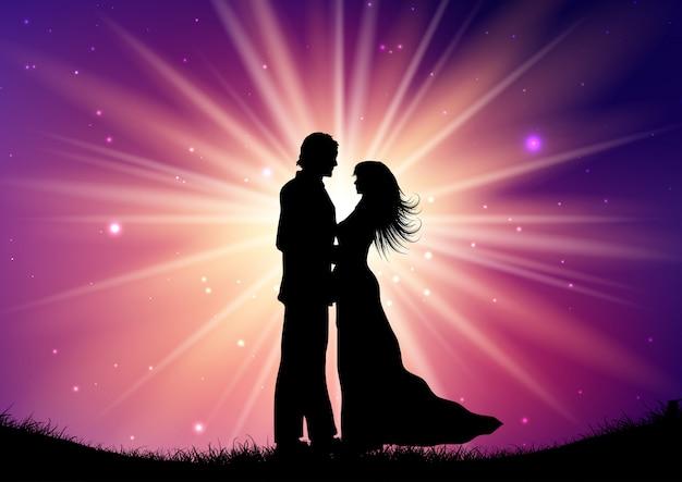 Silueta, de, par casando, ligado, starburst, fundo