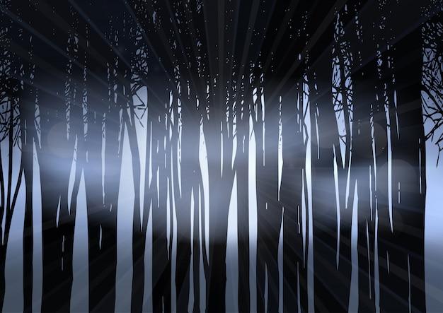 Silueta, de, um, floresta, à noite