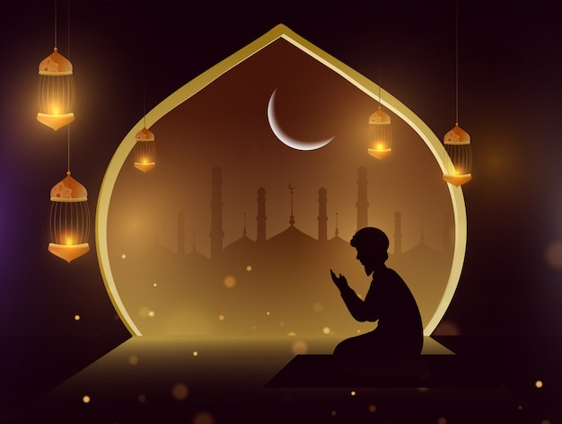 Silueta, de, um, homem, fazendo, oração, (namaz), frente, mesquita