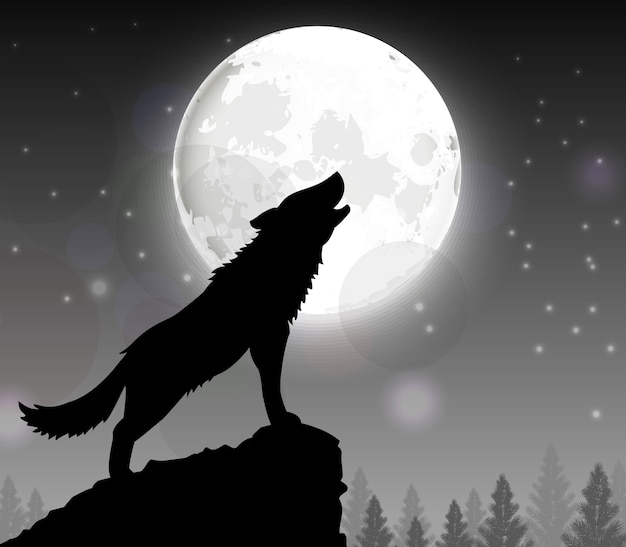 Silueta, de, um, lobo, ficar, ligado, um, colina