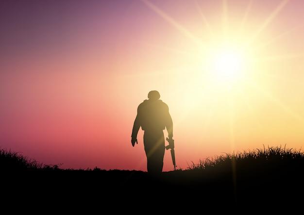 Silueta, de, um, soldado, em, pôr do sol