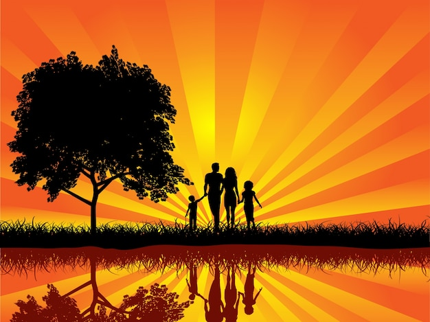 Silueta, família, andar, pôr do sol