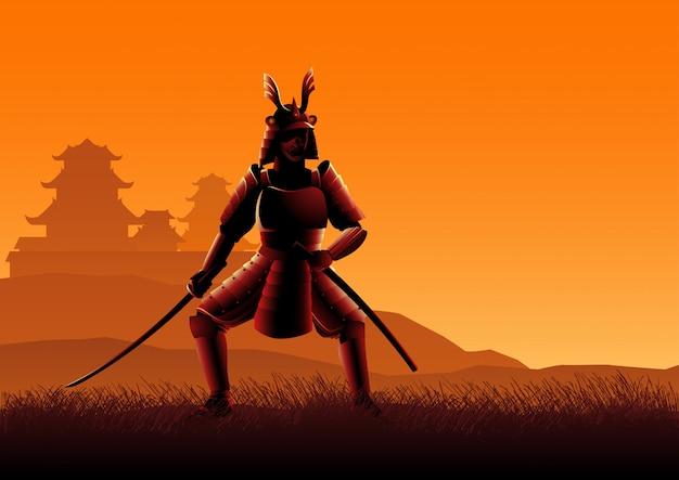 Silueta, ilustração, de, um, samurai