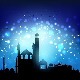 Silueta, mesquitas, bokeh, luzes, noturna, céu