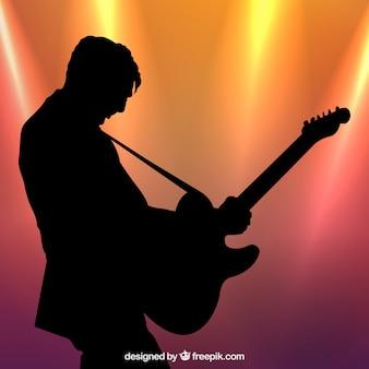 Silueta, perfil, guitarra, jogador