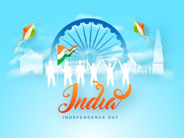 Silueta, soldados, celebrando, feliz, indianas, independência, dia