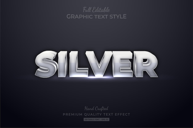 Silver editable eps text style effect premium