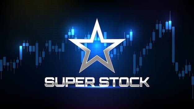 Silver star super mercado de ações e gráfico de velas indicadoras