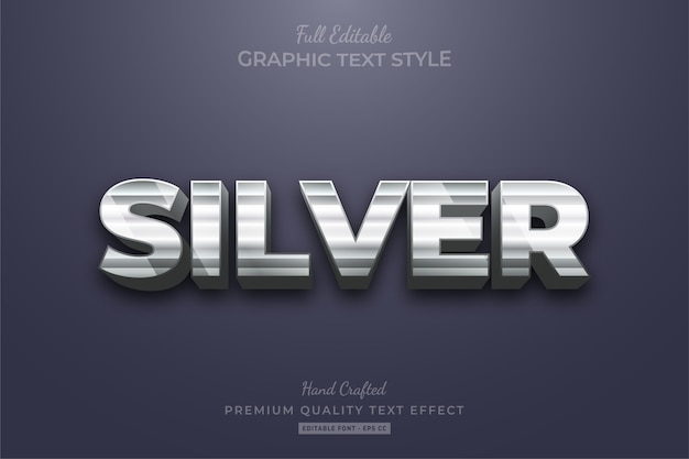 Silver strip editable text style effect premium