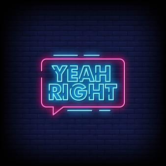 Sim, certo, néon, sinais, estilo, texto