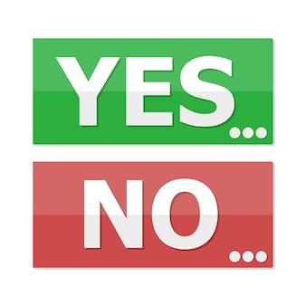 Sim e não botões em design plano