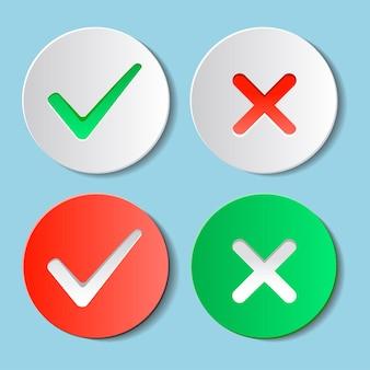Sim e não marcas de verificação no círculo