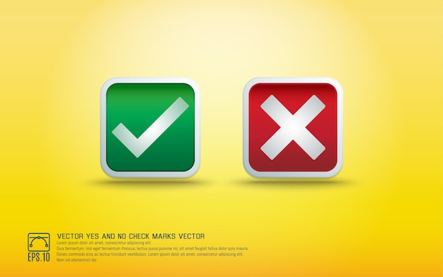 Sim e não marcas de verificação