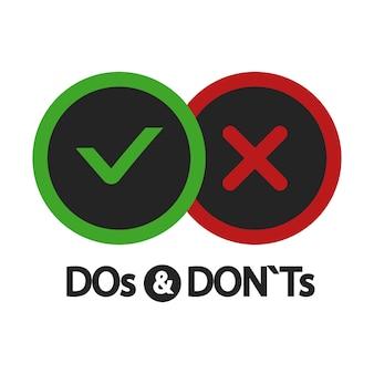 Sim e não, o que fazer e não fazer, ícones positivos e negativos isolados na ilustração branca