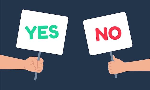 Sim e nenhum banner de sinais na mão humana. pessoas tendo escolha, hesitam em responder, disputar, oposição. tabuleta verde positiva e vermelha negativa nos braços, ilustração vetorial de desenho de decisão
