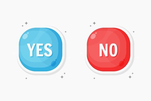 Sim e nenhum design de ícone de botão